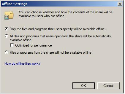 Configuring Windows Server 2008 offline (cached) file sharing
