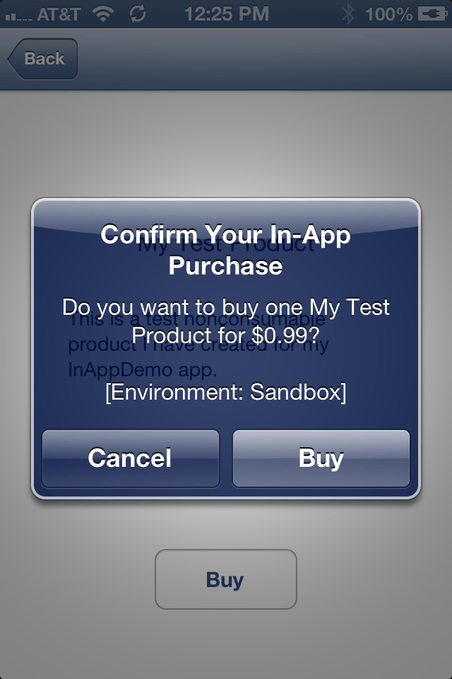 The iPhone iOS 6 In-App Purchase confirmation dialog