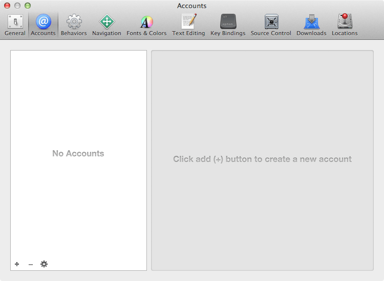 The Accounts panel of the Xcode 5 Preferences screen