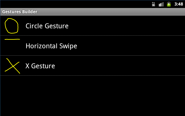 List Gestures created in the Android Gestures Builder application