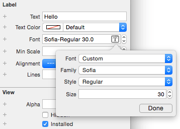 A custom font listed in Xcode