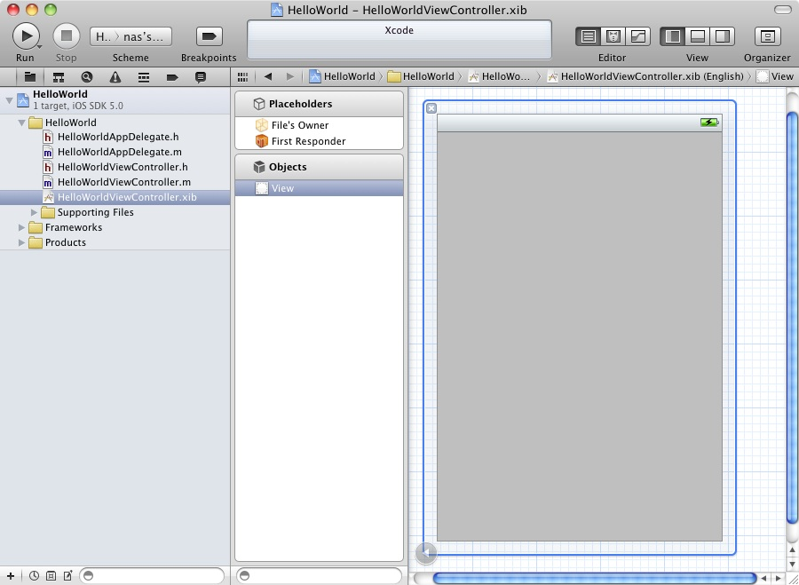 The Xcode interface builder tool