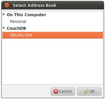 Selecting the Ubuntu One couchDB address book to synchronize contacts