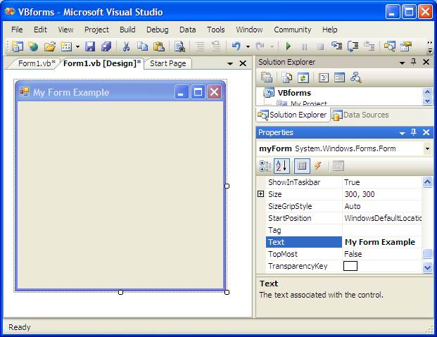Visual Basic and Forms - Techotopia
