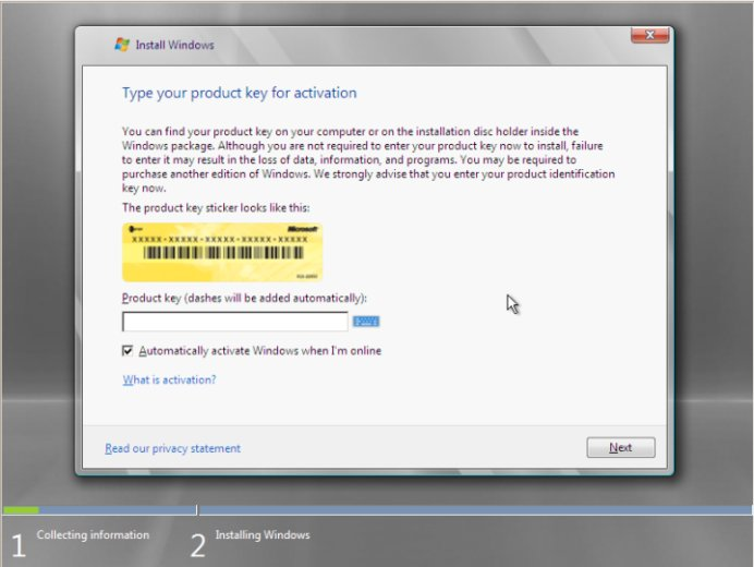 The Windows Server 2008 Product Activation Screen