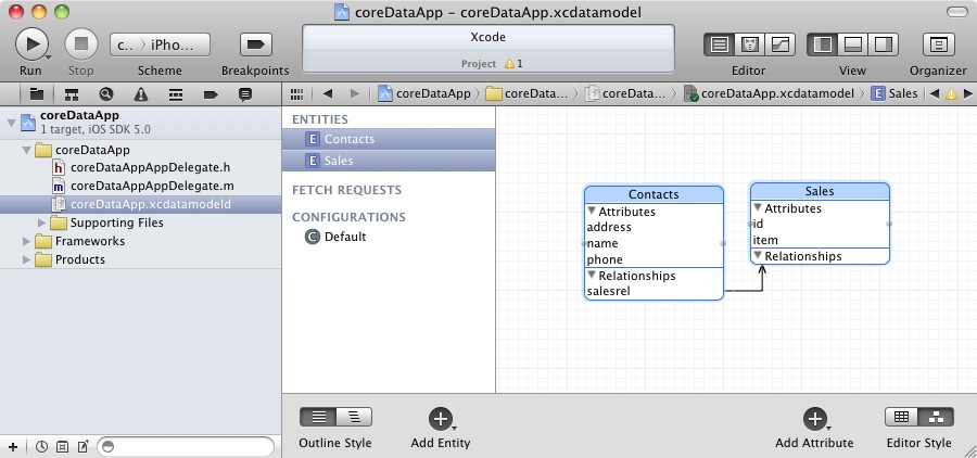 A Core Data database relationship viewed in Xcode
