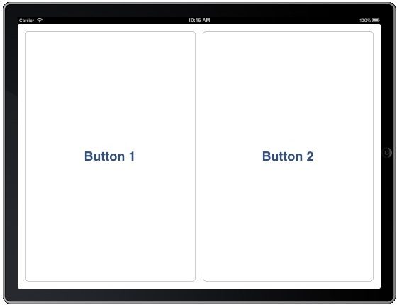 Example iPad app running with layout positioned in code