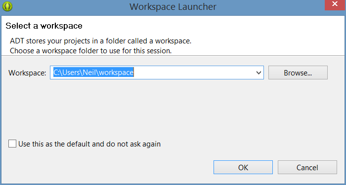 Eclipse workspace selecting dialog