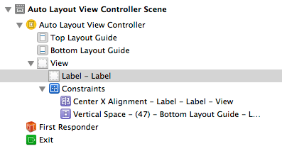 Auto Layout constraints in the Xcode Document Outline panel