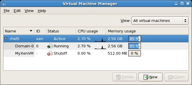 A list of Xen based virtual machines shown in the virt-manager window