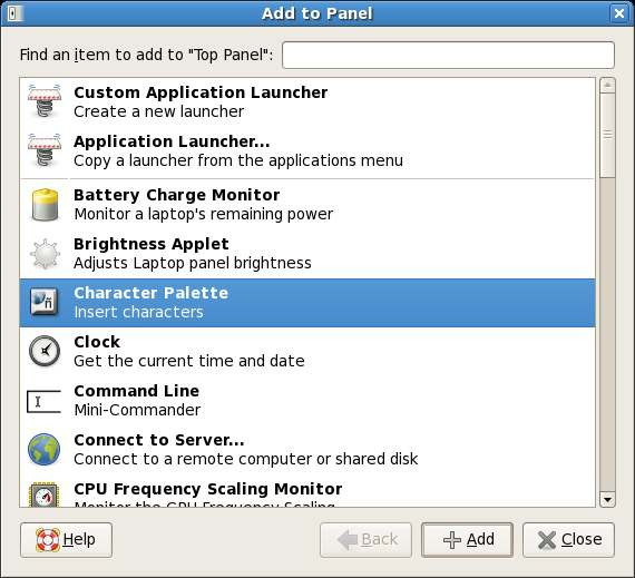 GNOME Add to Panel Dialog