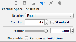 Configuring an Auto Layout constraint in the Xcode 5 Attributes Inspector