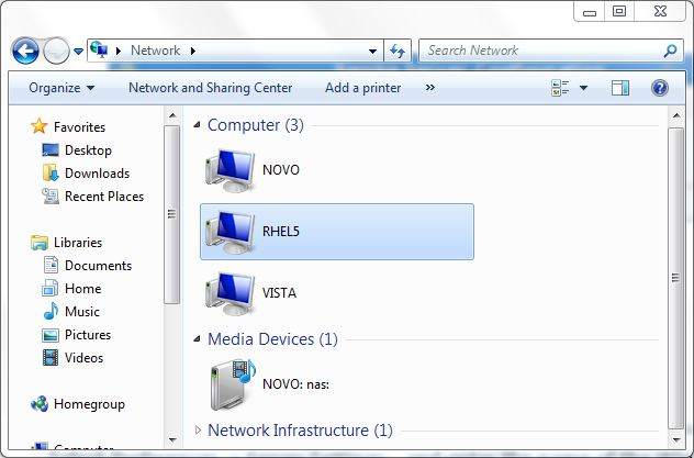 An RHEL system listed in Windows Explorer