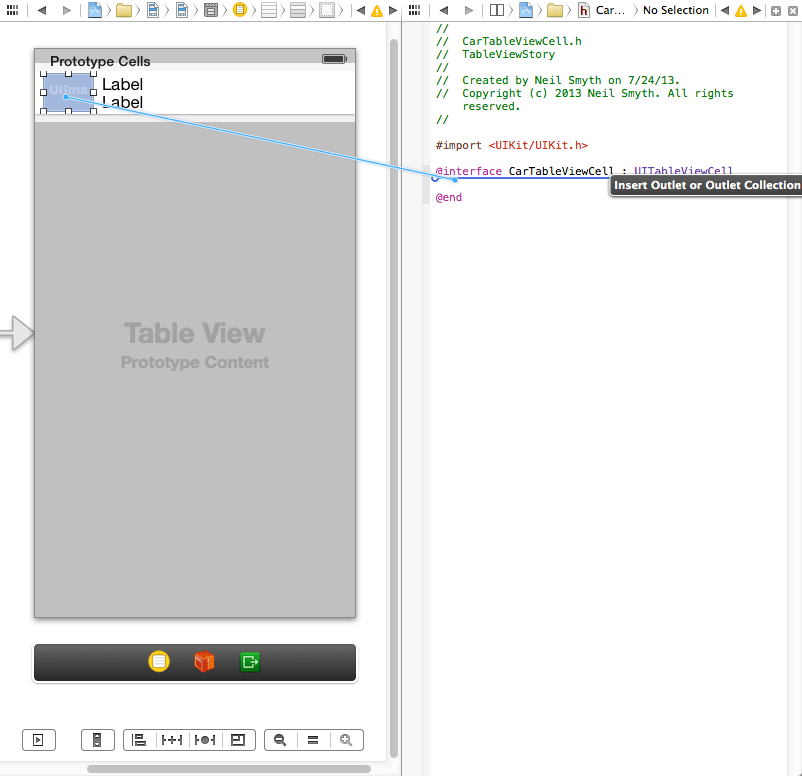 Connecting the image view in the table cell to an outlet