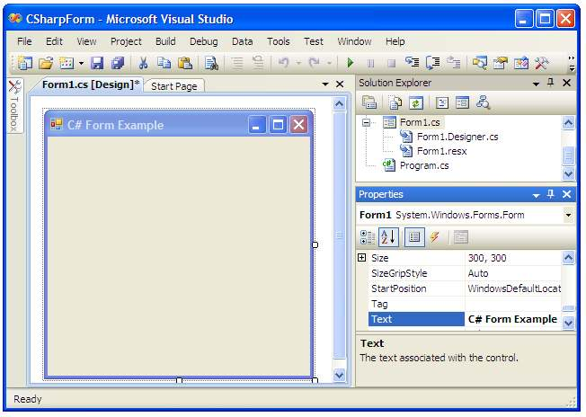 A Blank Visual Studio Form