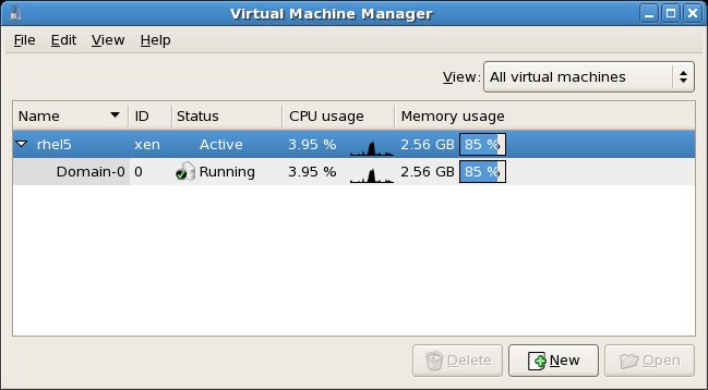 The virt-manager tool running on RHEL 5
