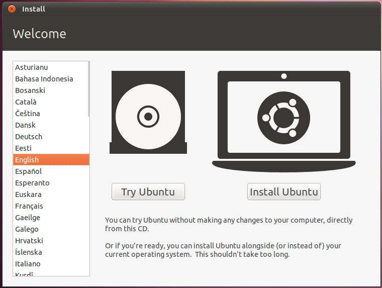 The Ubuntu 11.04 Try or Install window