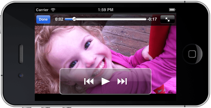 An iPhone iOS 6 Movie Playback example app running
