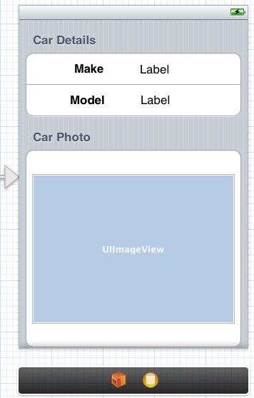 The user interface of an example iOS 6 static table view storyboard scene