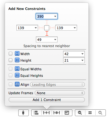 The Xcode 5 Auto Layout Pin menu - add a new constraint