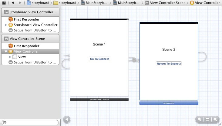 An Xcode Storyboard with a view controller selected