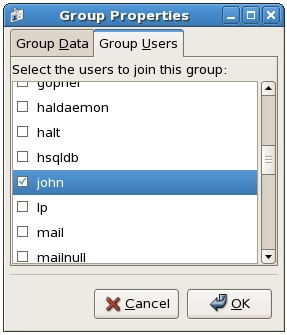 Configuring group properties on CentOS