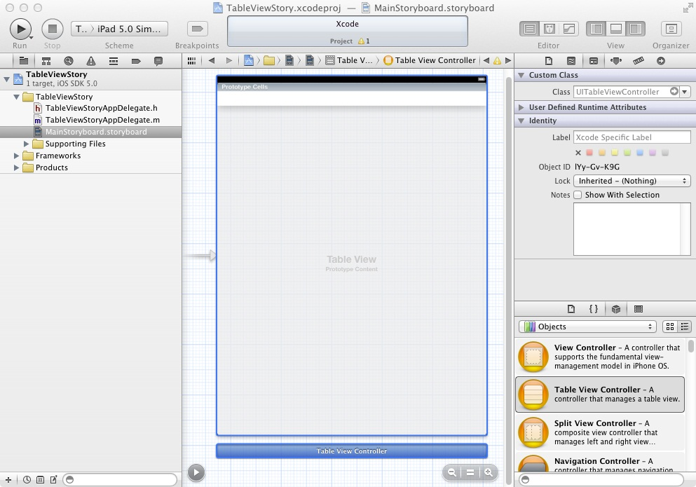 An iPad table view scene in an Xcode storyboard