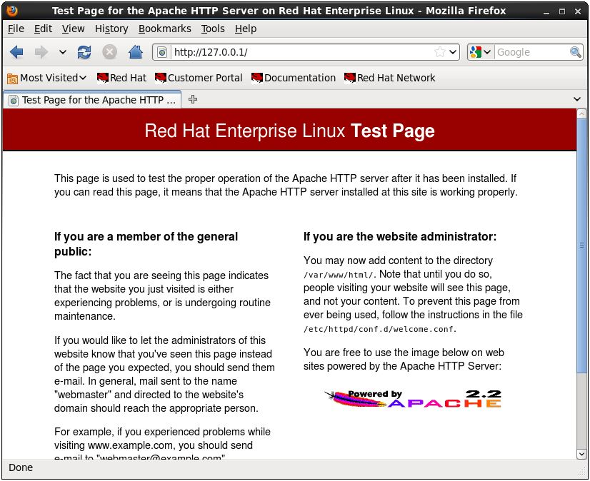 The RHEL 6 Apache test web page