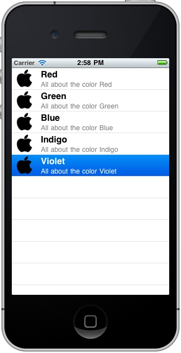 An example iOS 4 iPhone Table View app with details and images