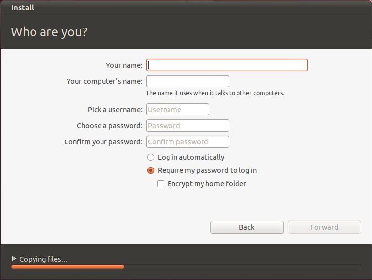Configuring user information during Ubuntu 11.04 installation