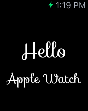 A WatchKit custom font app example running