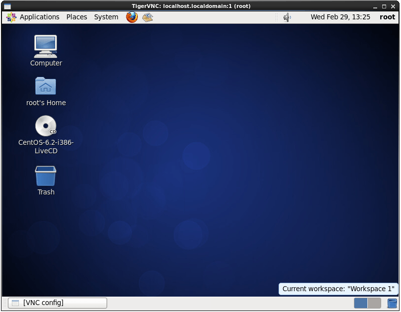A CentOS 6 VNC remote desktop session