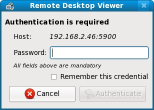 Vinagre requesting a password to access a remote desktop
