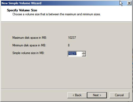 Windows Server 2008 New Simple Volume Wizard - Setting volume size