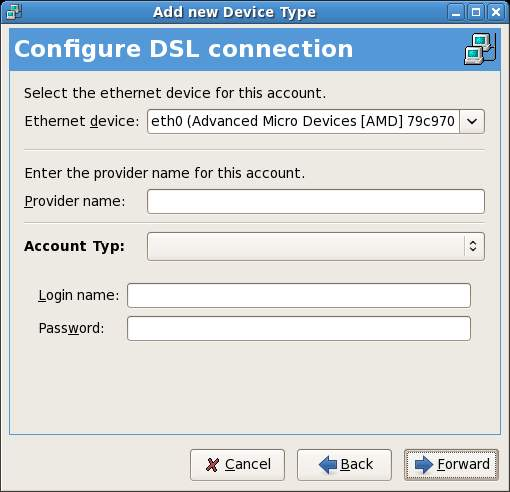 Configuring Fedora DSL connection
