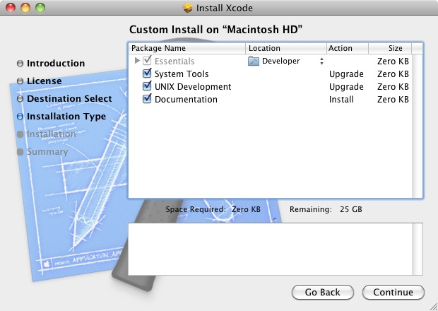 The Xcode 4.2 Installation screen