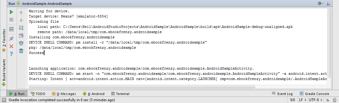 The Android Studio Run tool window