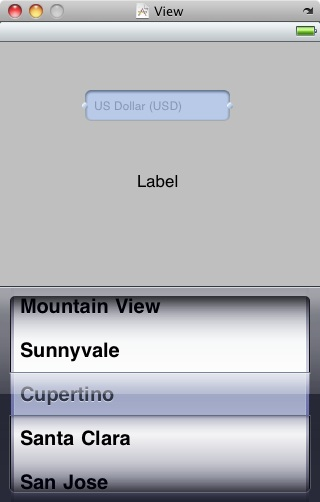 The view layout of an example iOS 4 iPhone PickerView example application