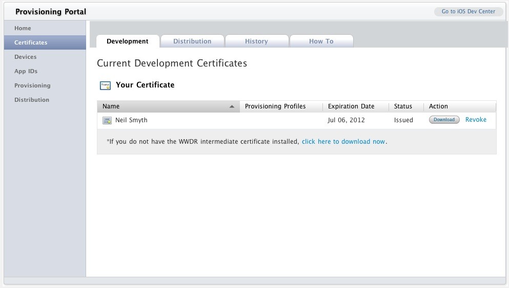 iOS 6 Developer portal listing certificate as ready
