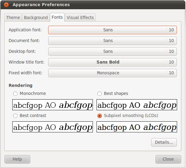 The Ubuntu 10.10 Font Preferences dialog