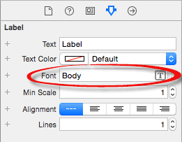 The Xcode font menu