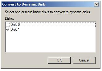 Converting a basic disk to a dynamic disk