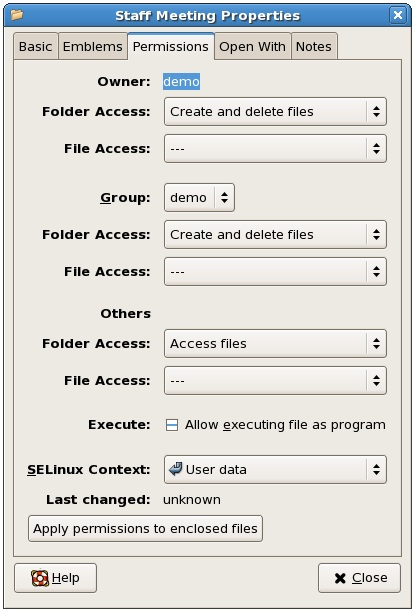 The CentOS file and folder permissions dialog