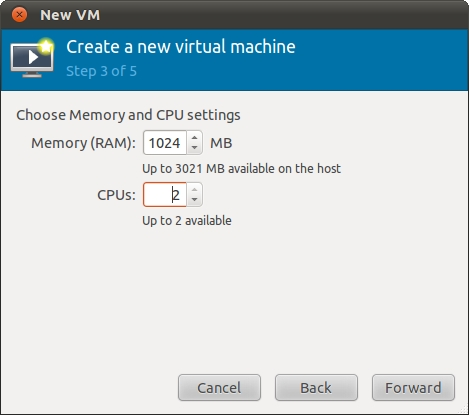 Configuring CPU and memory allocations for an Ubuntu 11.04 KVM virtual machine
