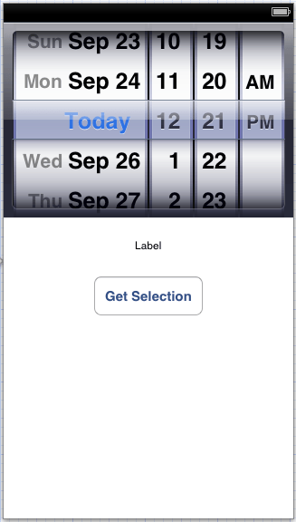 The user interface of an example iPhone iOS 6 UIDatePicker application