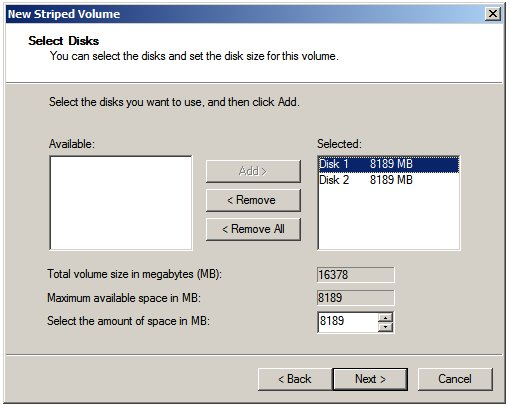 Selecting disks for a Windows Server 2008 striped (RAID 0) volume