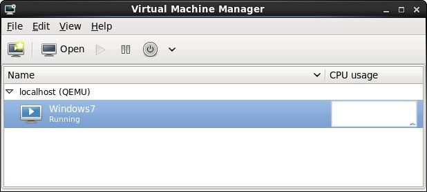 An RHEl 6 KVm virtual machine listed as running in virt-manager