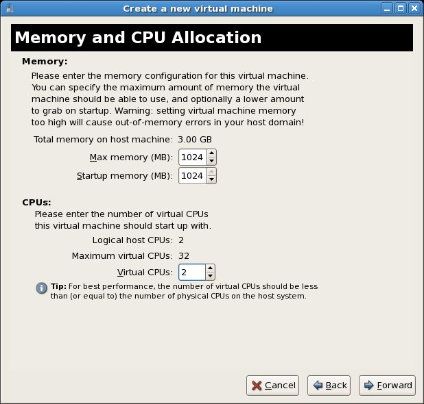 Allocating memory and CPU resources to the RHEL based Xen guest