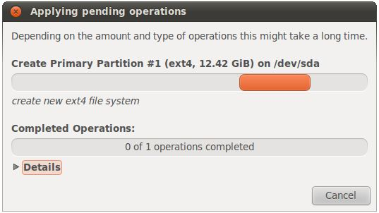 Ubuntu 10.10 new partition creation in progress