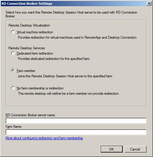 The RD Session Broker member settings dialog